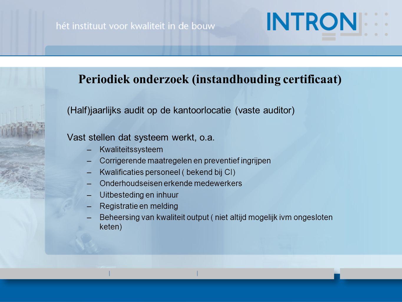 Periodiek onderzoek (instandhouding certificaat) (Half)jaarlijks audit op de kantoorlocatie (vaste auditor) Vast stellen dat systeem werkt, o.a.
