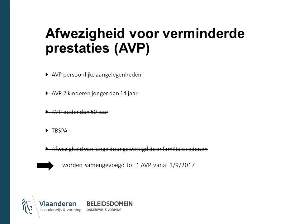 Afwezigheid voor verminderde prestaties (AVP) AVP persoonlijke aangelegenheden AVP 2 kinderen jonger dan 14 jaar AVP ouder dan 50 jaar TBSPA Afwezigheid van lange duur gewettigd door familiale redenen worden samengevoegd tot 1 AVP vanaf 1/9/2017