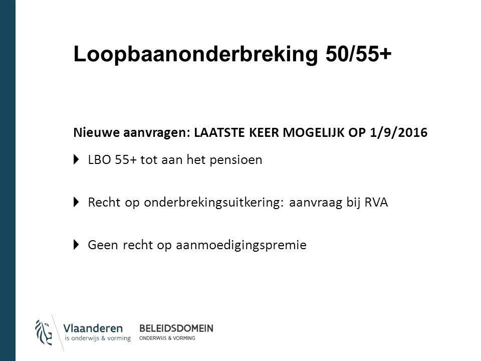Loopbaanonderbreking 50/55+ Nieuwe aanvragen: LAATSTE KEER MOGELIJK OP 1/9/2016 LBO 55+ tot aan het pensioen Recht op onderbrekingsuitkering: aanvraag bij RVA Geen recht op aanmoedigingspremie