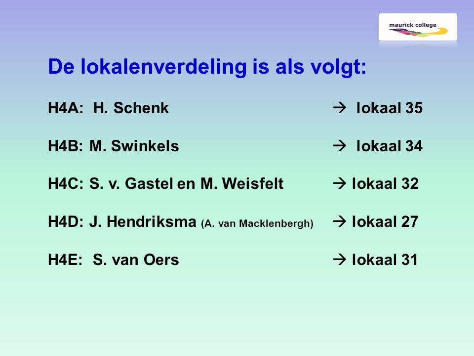 De lokalenverdeling is als volgt: H4A: H. Schenk  lokaal 35 H4B: M.