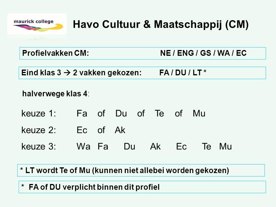 halverwege klas 4: keuze 1:Fa of Du of Te of Mu keuze 2:Ec of Ak keuze 3:Wa Fa Du Ak Ec Te Mu Havo Cultuur & Maatschappij (CM) Profielvakken CM: NE / ENG / GS / WA / EC Eind klas 3  2 vakken gekozen: FA / DU / LT * * LT wordt Te of Mu (kunnen niet allebei worden gekozen) * FA of DU verplicht binnen dit profiel