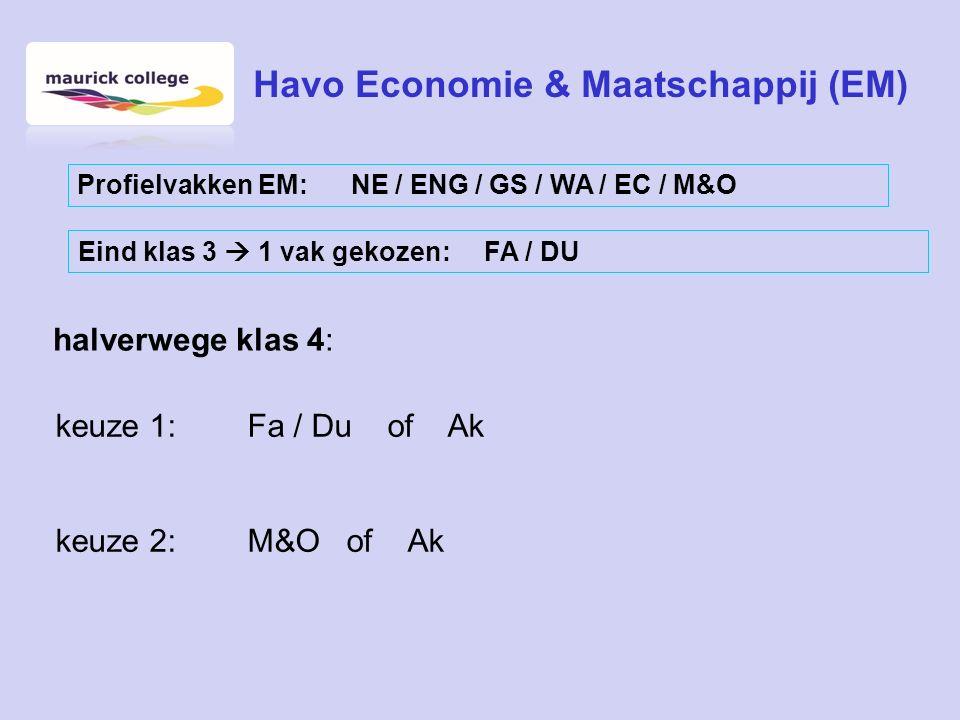 halverwege klas 4: keuze 1:Fa / Du of Ak keuze 2:M&O of Ak Havo Economie & Maatschappij (EM) Profielvakken EM: NE / ENG / GS / WA / EC / M&O Eind klas 3  1 vak gekozen: FA / DU