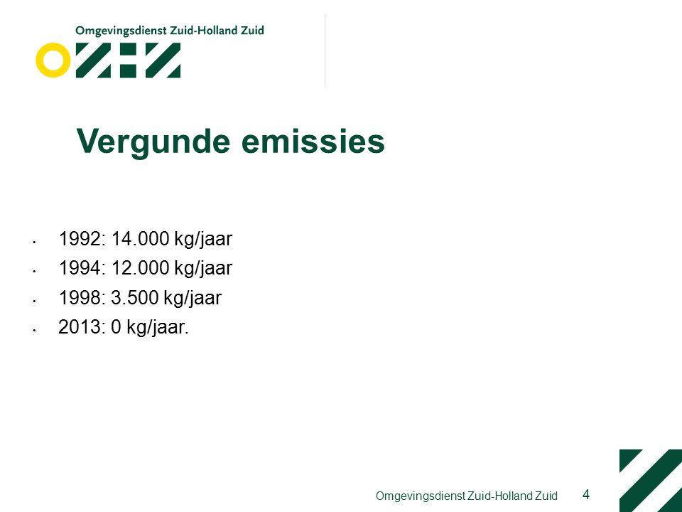 Vergunde emissies 1992: 14.000 kg/jaar 1994: 12.000 kg/jaar 1998: 3.500 kg/jaar 2013: 0 kg/jaar.