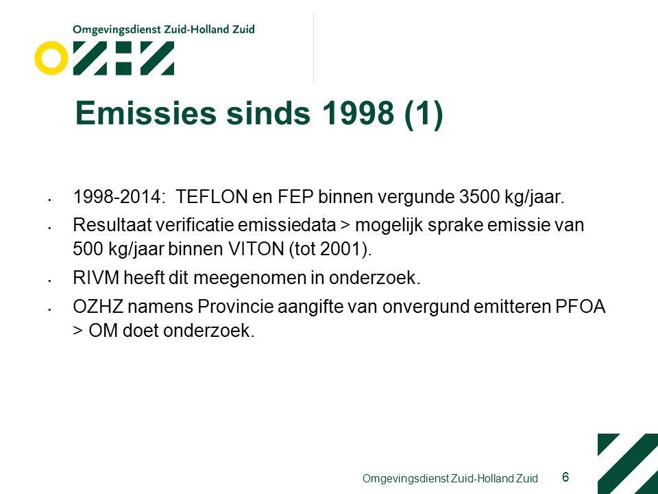 Emissies sinds 1998 (1) 1998-2014: TEFLON en FEP binnen vergunde 3500 kg/jaar.