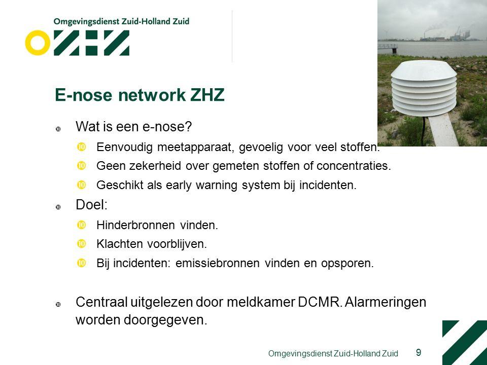 9 E-nose network ZHZ  Wat is een e-nose. Eenvoudig meetapparaat, gevoelig voor veel stoffen.