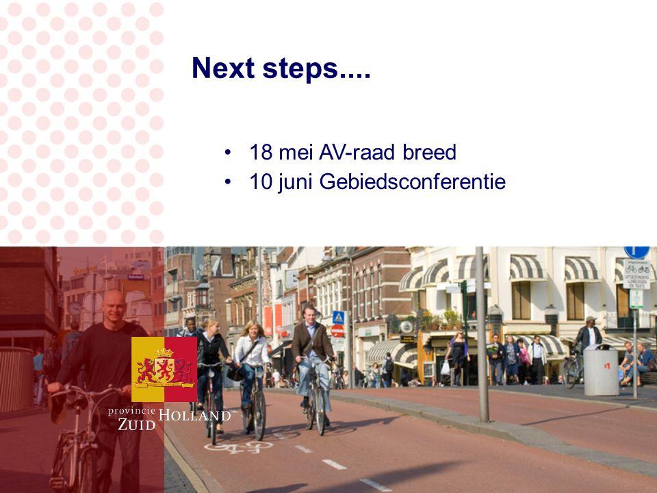 Next steps.... 18 mei AV-raad breed 10 juni Gebiedsconferentie