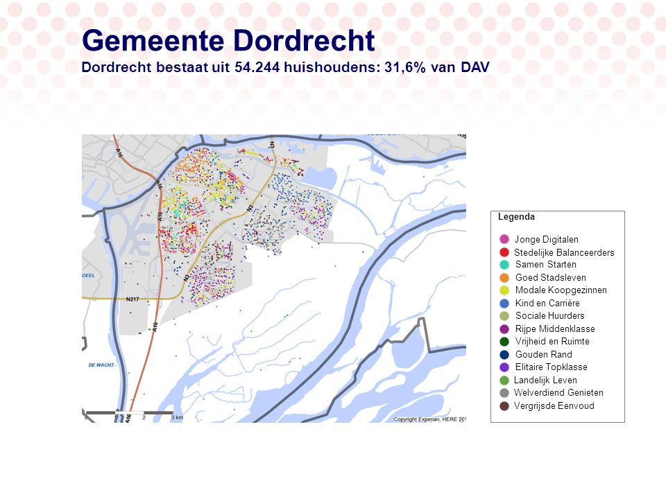 Gemeente Dordrecht Gebiedsprofiel: subgroepen in Dordrecht (groter dan 3%) 7,7% 25,5% 12,1 % Huishoudens Dordrecht Gevorderde gezinnen Startende gezinnen Minder welvarende 50-plussers Studenten en jonge professionals 16,3 % 4% Welvarende 50-plussers 8.835 hhs 4.176 hhs 6.571 hhs 2.159 hhs 13.822 hhs