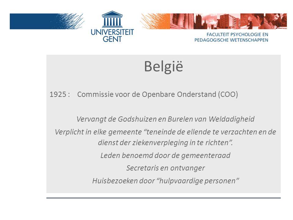 """België 1925 : Commissie voor de Openbare Onderstand (COO) Vervangt de Godshuizen en Burelen van Weldadigheid Verplicht in elke gemeente """"teneinde de e"""