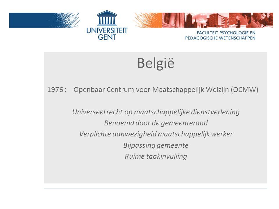 België 1976 : Openbaar Centrum voor Maatschappelijk Welzijn (OCMW) Universeel recht op maatschappelijke dienstverlening Benoemd door de gemeenteraad V