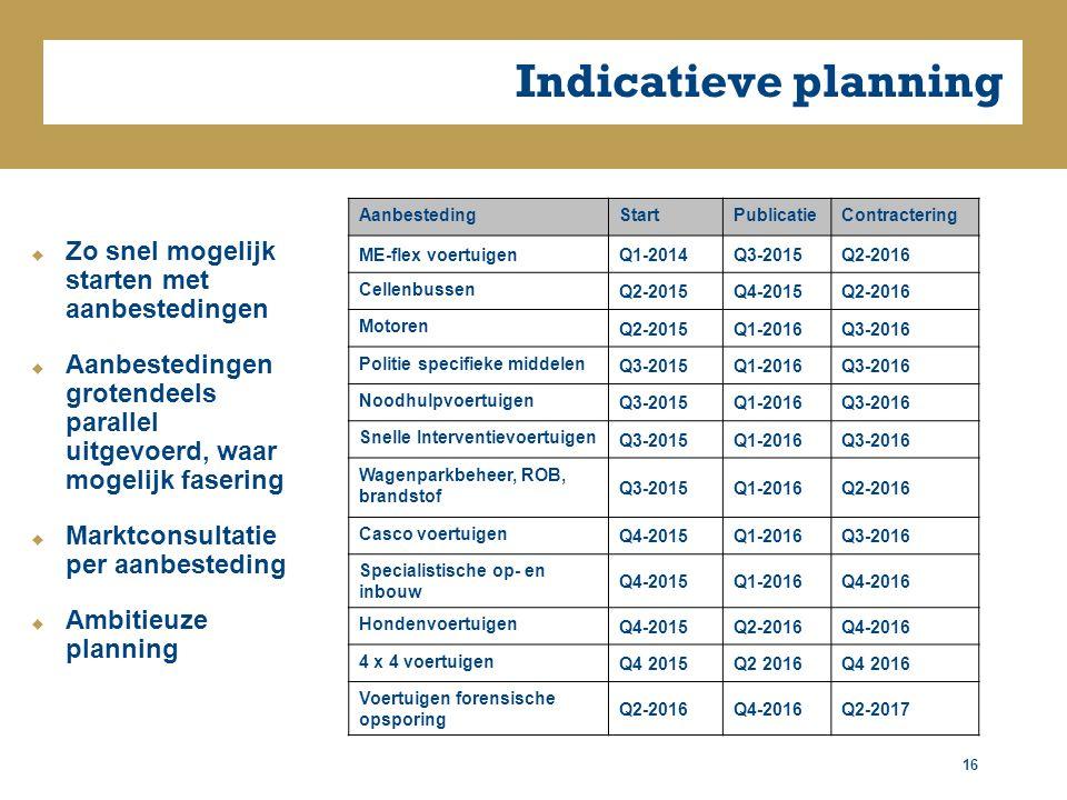 Indicatieve planning 16  Zo snel mogelijk starten met aanbestedingen  Aanbestedingen grotendeels parallel uitgevoerd, waar mogelijk fasering  Marktconsultatie per aanbesteding  Ambitieuze planning AanbestedingStartPublicatieContractering ME-flex voertuigenQ1-2014Q3-2015Q2-2016 Cellenbussen Q2-2015Q4-2015Q2-2016 Motoren Q2-2015Q1-2016Q3-2016 Politie specifieke middelen Q3-2015Q1-2016Q3-2016 Noodhulpvoertuigen Q3-2015Q1-2016Q3-2016 Snelle Interventievoertuigen Q3-2015Q1-2016Q3-2016 Wagenparkbeheer, ROB, brandstof Q3-2015Q1-2016Q2-2016 Casco voertuigen Q4-2015Q1-2016Q3-2016 Specialistische op- en inbouw Q4-2015Q1-2016Q4-2016 Hondenvoertuigen Q4-2015Q2-2016Q4-2016 4 x 4 voertuigen Q4 2015Q2 2016Q4 2016 Voertuigen forensische opsporing Q2-2016Q4-2016Q2-2017