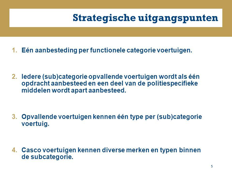 Strategische uitgangspunten 5 1.Eén aanbesteding per functionele categorie voertuigen.