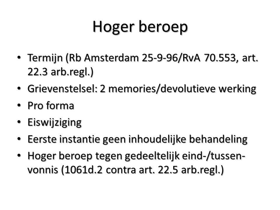 Hoger beroep Termijn (Rb Amsterdam 25-9-96/RvA 70.553, art.