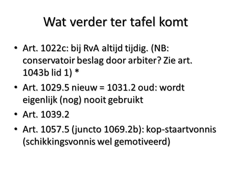 Wat verder ter tafel komt Art. 1022c: bij RvA altijd tijdig.
