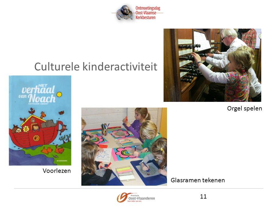 Culturele kinderactiviteit 11 Voorlezen Glasramen tekenen Orgel spelen