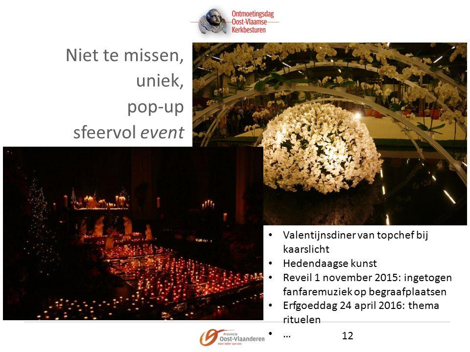 Niet te missen, uniek, pop-up sfeervol event 12 Valentijnsdiner van topchef bij kaarslicht Hedendaagse kunst Reveil 1 november 2015: ingetogen fanfaremuziek op begraafplaatsen Erfgoeddag 24 april 2016: thema rituelen …