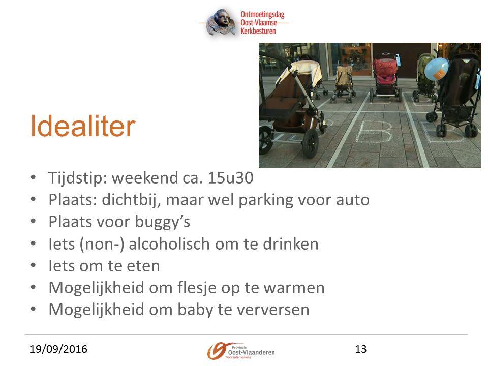 Idealiter 19/09/201613 Tijdstip: weekend ca.