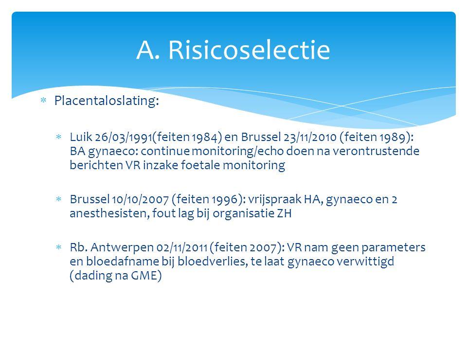  Placentaloslating:  Luik 26/03/1991(feiten 1984) en Brussel 23/11/2010 (feiten 1989): BA gynaeco: continue monitoring/echo doen na verontrustende berichten VR inzake foetale monitoring  Brussel 10/10/2007 (feiten 1996): vrijspraak HA, gynaeco en 2 anesthesisten, fout lag bij organisatie ZH  Rb.