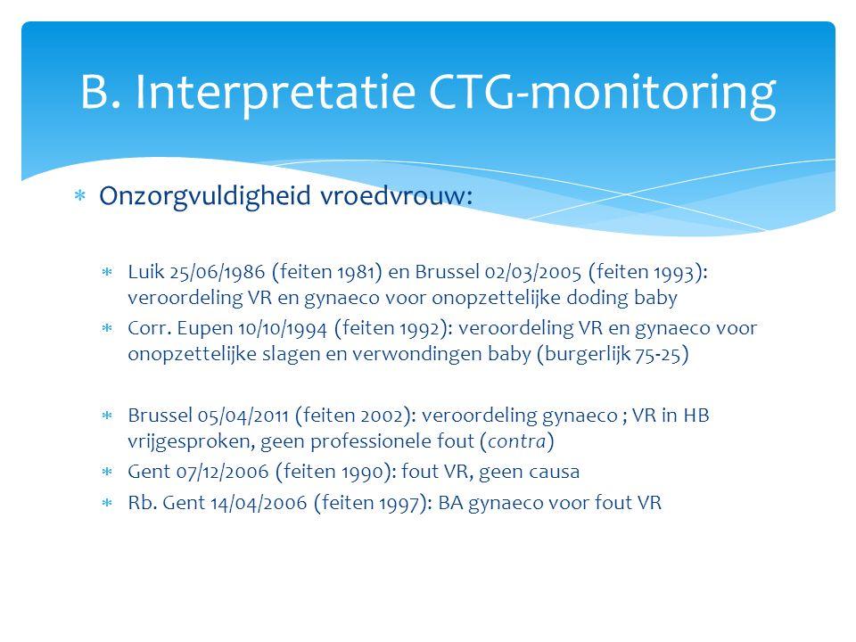  Onzorgvuldigheid vroedvrouw:  Luik 25/06/1986 (feiten 1981) en Brussel 02/03/2005 (feiten 1993): veroordeling VR en gynaeco voor onopzettelijke doding baby  Corr.