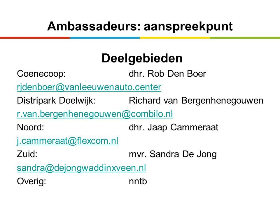 Ambassadeurs: aanspreekpunt Deelgebieden Coenecoop: dhr. Rob Den Boer rjdenboer@vanleeuwenauto.center Distripark Doelwijk:Richard van Bergenhenegouwen
