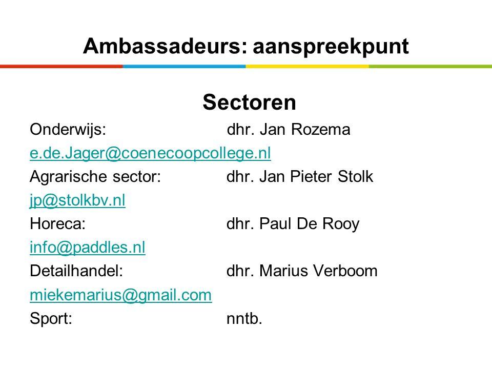 Ambassadeurs: aanspreekpunt Sectoren Onderwijs: dhr. Jan Rozema e.de.Jager@coenecoopcollege.nl Agrarische sector:dhr. Jan Pieter Stolk jp@stolkbv.nl H