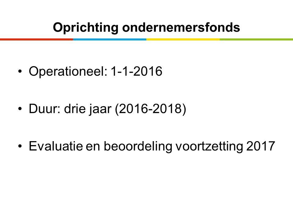 Oprichting ondernemersfonds Operationeel: 1-1-2016 Duur: drie jaar (2016-2018) Evaluatie en beoordeling voortzetting 2017