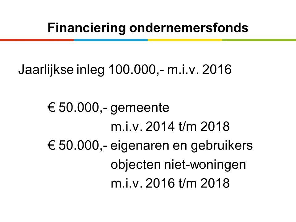 Financiering ondernemersfonds Jaarlijkse inleg 100.000,- m.i.v. 2016 € 50.000,- gemeente m.i.v. 2014 t/m 2018 € 50.000,- eigenaren en gebruikers objec