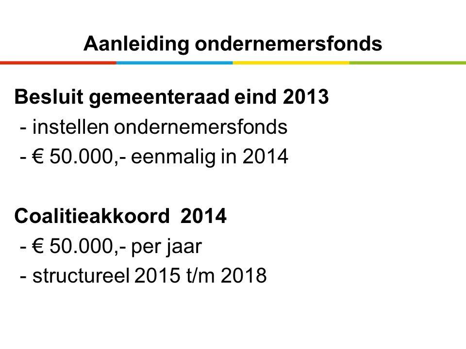 Aanleiding ondernemersfonds Besluit gemeenteraad eind 2013 - instellen ondernemersfonds - € 50.000,- eenmalig in 2014 Coalitieakkoord 2014 - € 50.000,