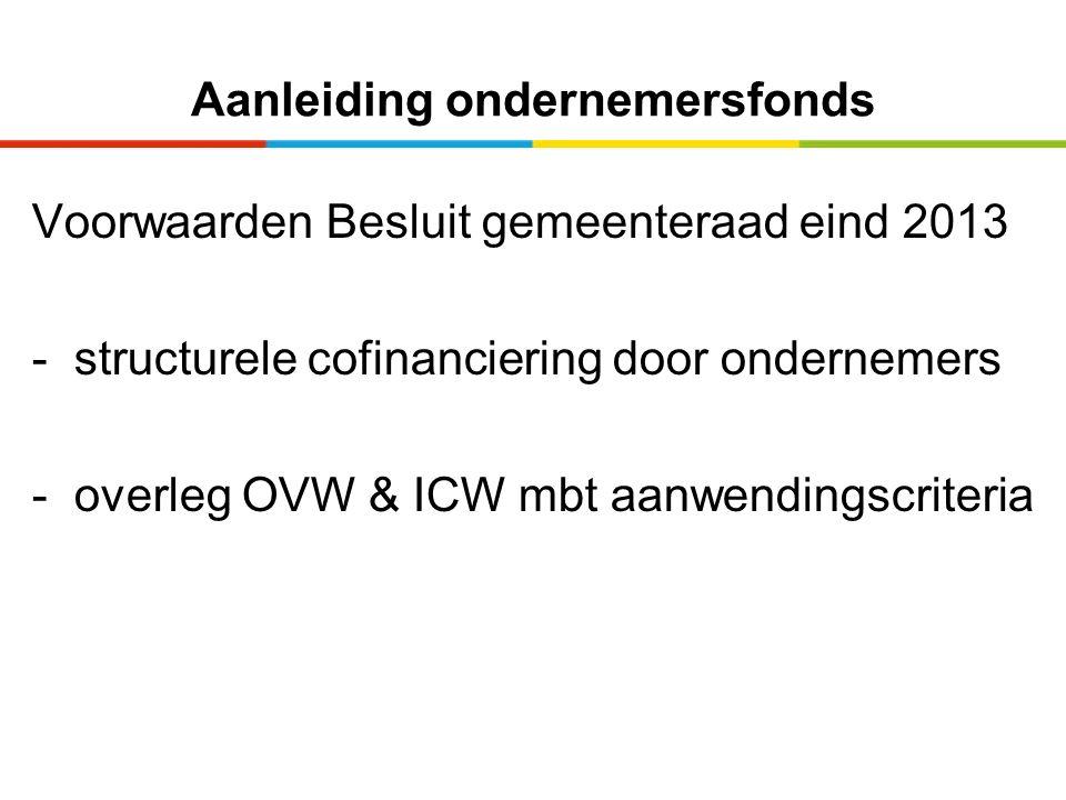 Aanleiding ondernemersfonds Voorwaarden Besluit gemeenteraad eind 2013 - structurele cofinanciering door ondernemers - overleg OVW & ICW mbt aanwendingscriteria