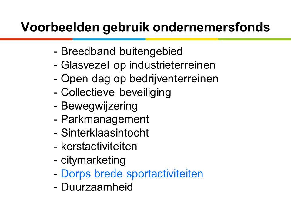 Voorbeelden gebruik ondernemersfonds - Breedband buitengebied - Glasvezel op industrieterreinen - Open dag op bedrijventerreinen - Collectieve beveili