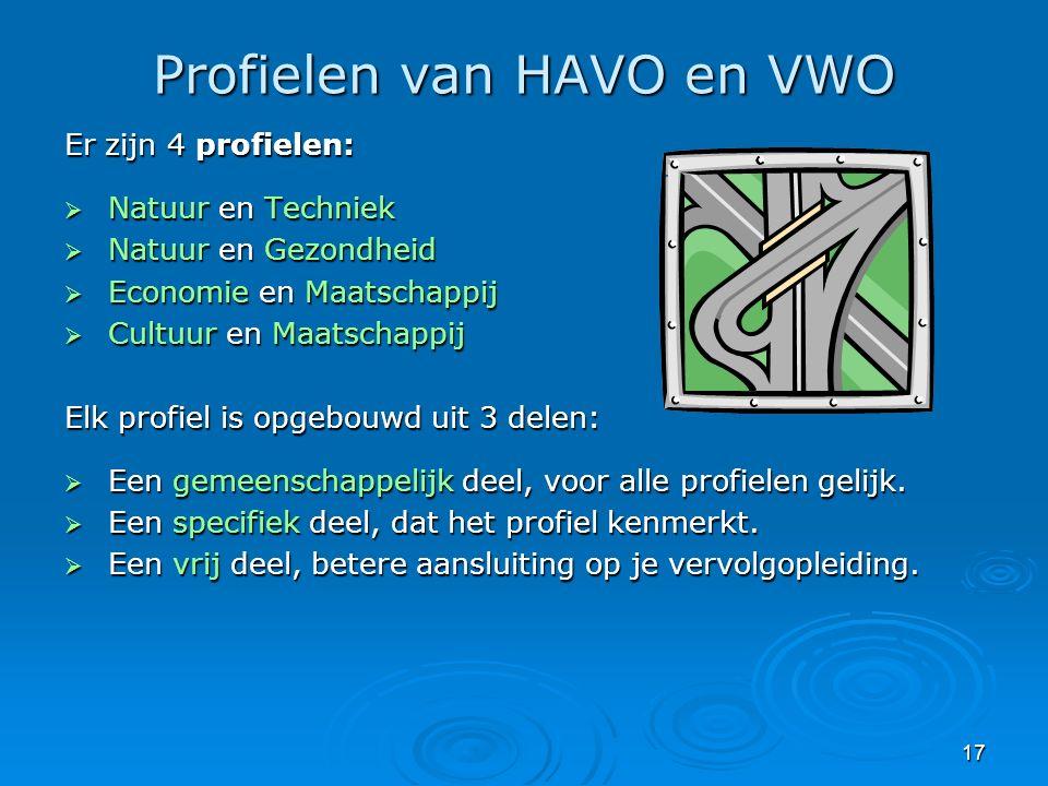 17 Profielen van HAVO en VWO Er zijn 4 profielen:  Natuur en Techniek  Natuur en Gezondheid  Economie en Maatschappij  Cultuur en Maatschappij Elk