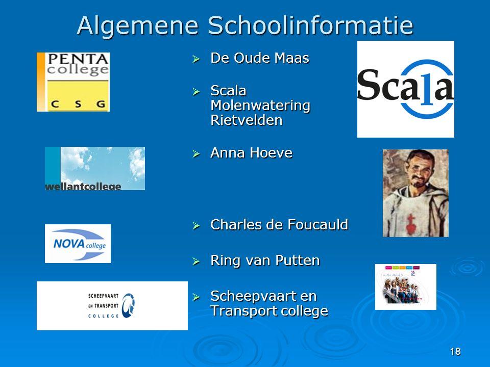 18 Algemene Schoolinformatie  De Oude Maas  Scala Molenwatering Rietvelden  Anna Hoeve  Charles de Foucauld  Ring van Putten  Scheepvaart en Tra