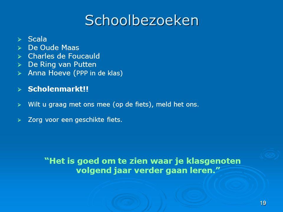 19 Schoolbezoeken   Scala   De Oude Maas   Charles de Foucauld   De Ring van Putten   Anna Hoeve ( PPP in de klas)   Scholenmarkt!!   Wi