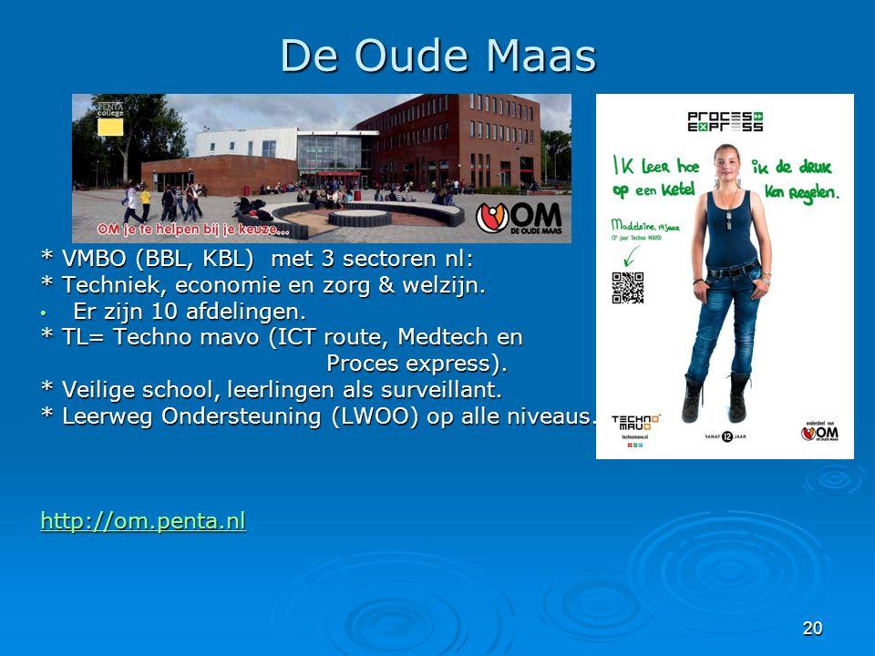 20 De Oude Maas * VMBO (BBL, KBL) met 3 sectoren nl: * Techniek, economie en zorg & welzijn. Er zijn 10 afdelingen. Er zijn 10 afdelingen. * TL= Techn