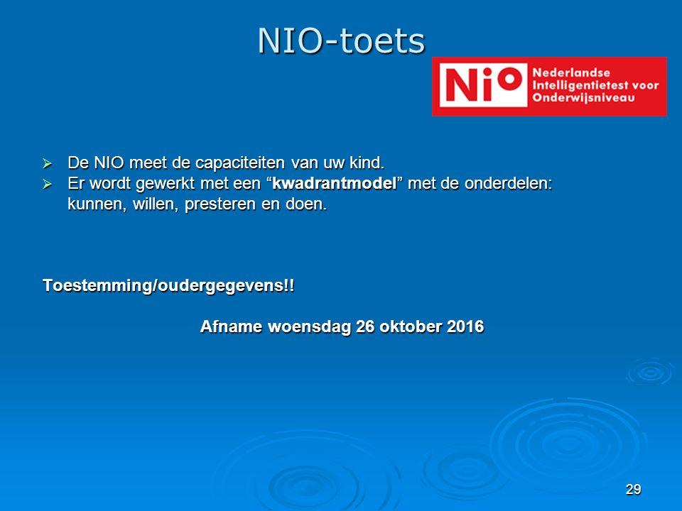 """29 NIO-toets  De NIO meet de capaciteiten van uw kind.  Er wordt gewerkt met een """"kwadrantmodel"""" met de onderdelen: kunnen, willen, presteren en doe"""