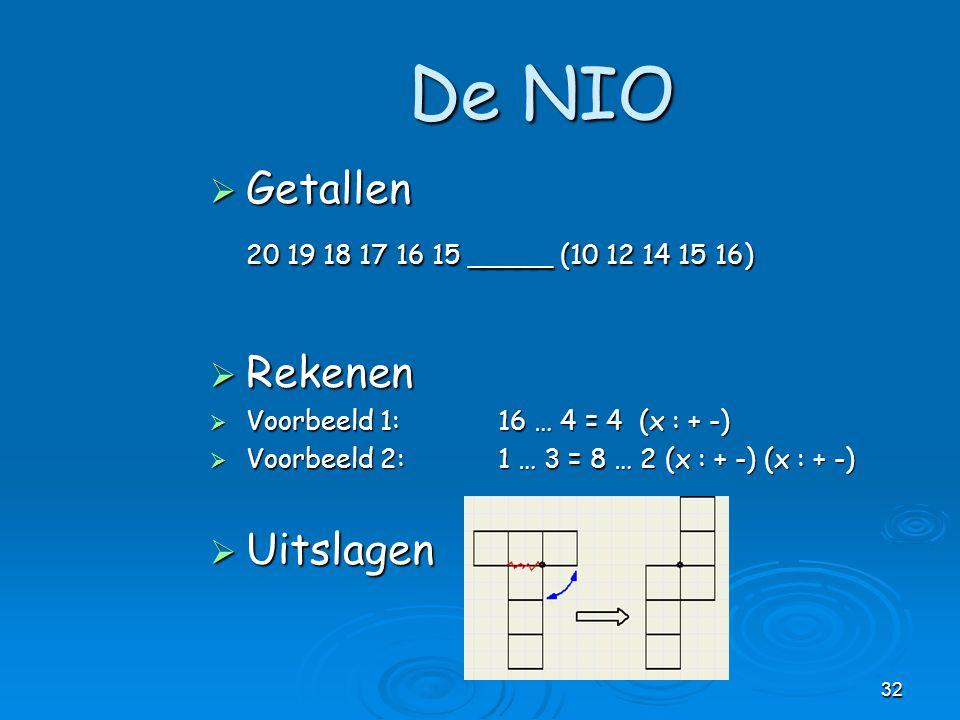 32  Getallen 20 19 18 17 16 15 _____ (10 12 14 15 16)  Rekenen  Voorbeeld 1: 16 … 4 = 4 (x : + -)  Voorbeeld 2:1 … 3 = 8 … 2 (x : + -) (x : + -) 