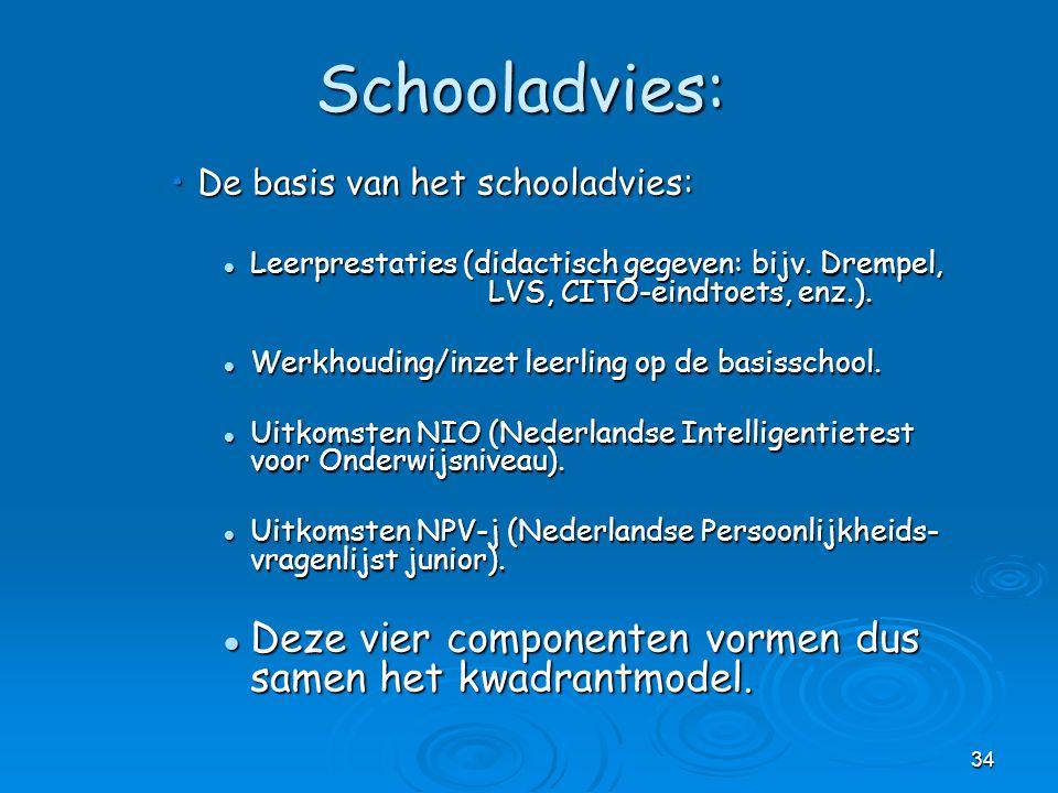 34 Schooladvies: De basis van het schooladvies:De basis van het schooladvies: Leerprestaties (didactisch gegeven: bijv. Drempel, LVS, CITO-eindtoets,