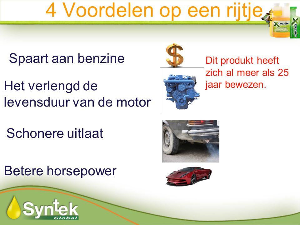 Spaart aan benzine Het verlengd de levensduur van de motor Schonere uitlaat Betere horsepower 4 Voordelen op een rijtje Dit produkt heeft zich al meer als 25 jaar bewezen.