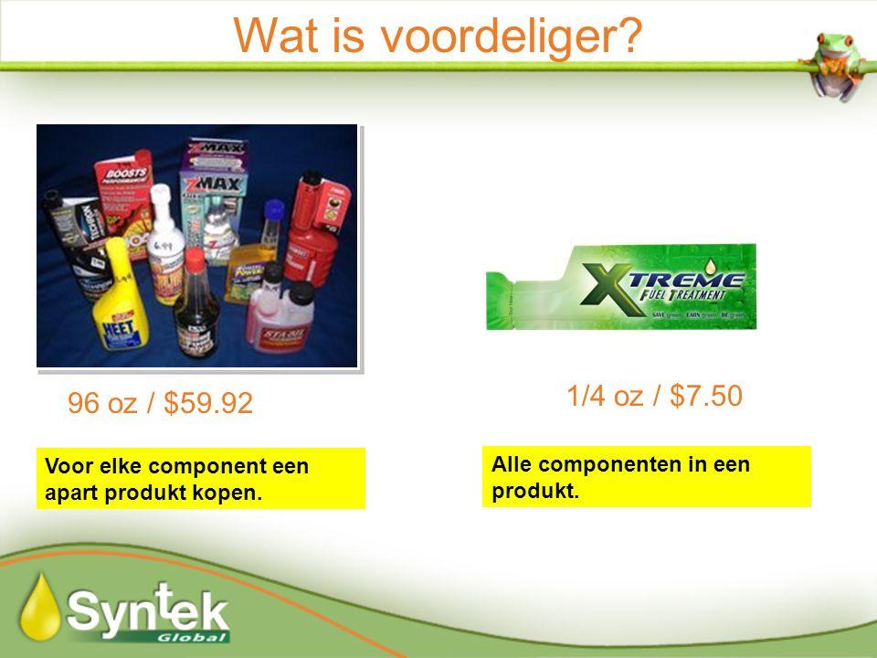 96 oz / $59.92 Wat is voordeliger. 1/4 oz / $7.50 Voor elke component een apart produkt kopen.