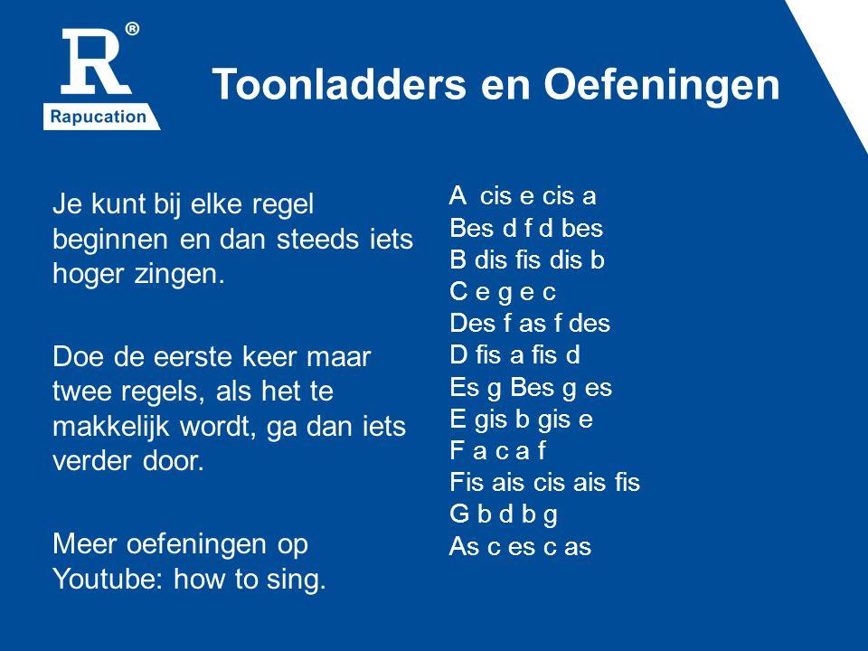 Toonladders en Oefeningen Je kunt bij elke regel beginnen en dan steeds iets hoger zingen.