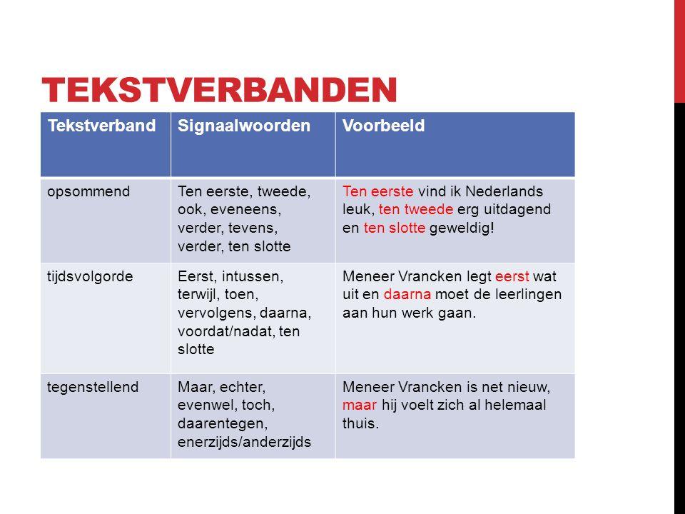 TEKSTVERBANDEN TekstverbandSignaalwoordenVoorbeeld opsommendTen eerste, tweede, ook, eveneens, verder, tevens, verder, ten slotte Ten eerste vind ik Nederlands leuk, ten tweede erg uitdagend en ten slotte geweldig.