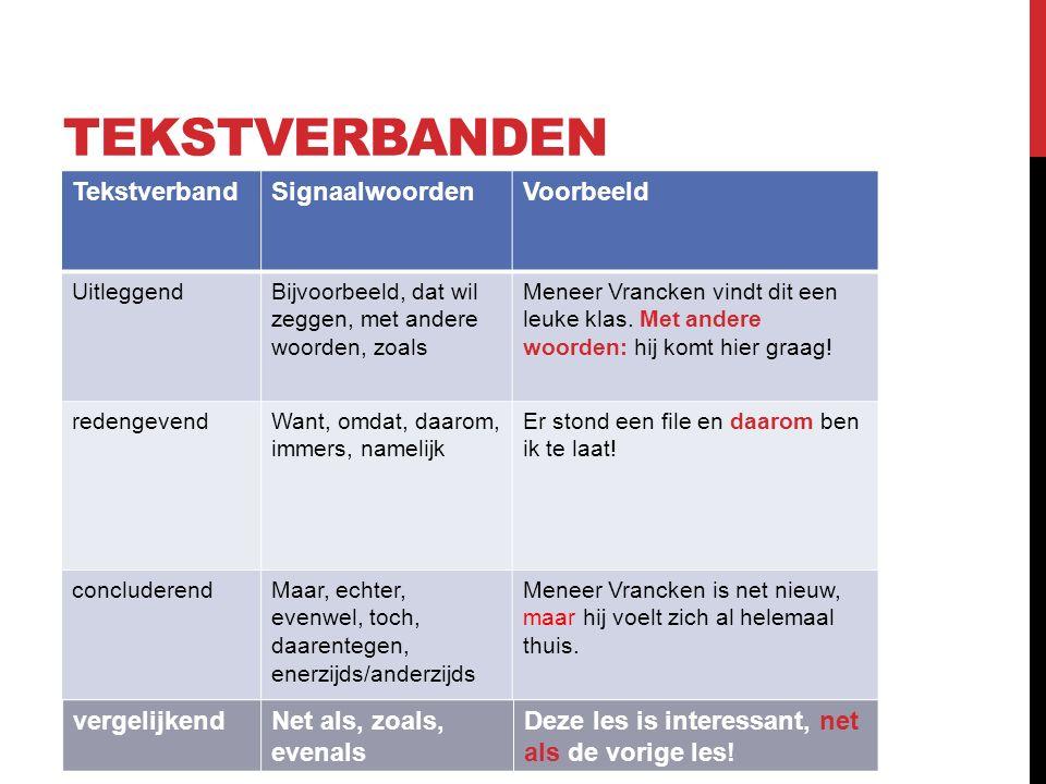 TEKSTVERBANDEN TekstverbandSignaalwoordenVoorbeeld UitleggendBijvoorbeeld, dat wil zeggen, met andere woorden, zoals Meneer Vrancken vindt dit een leuke klas.