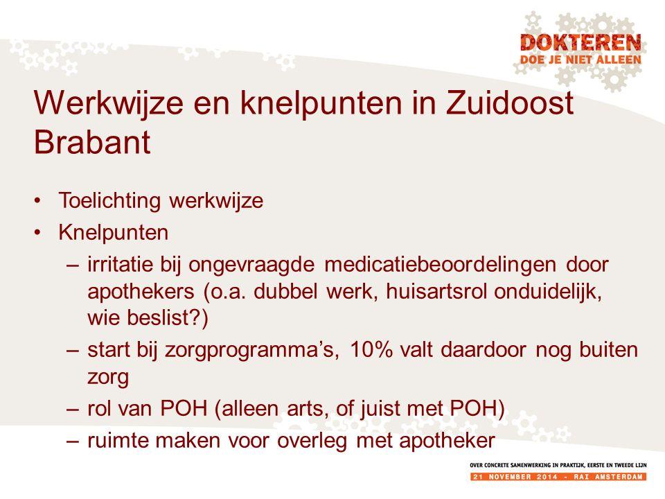 Werkwijze en knelpunten in Zuidoost Brabant Toelichting werkwijze Knelpunten –irritatie bij ongevraagde medicatiebeoordelingen door apothekers (o.a.