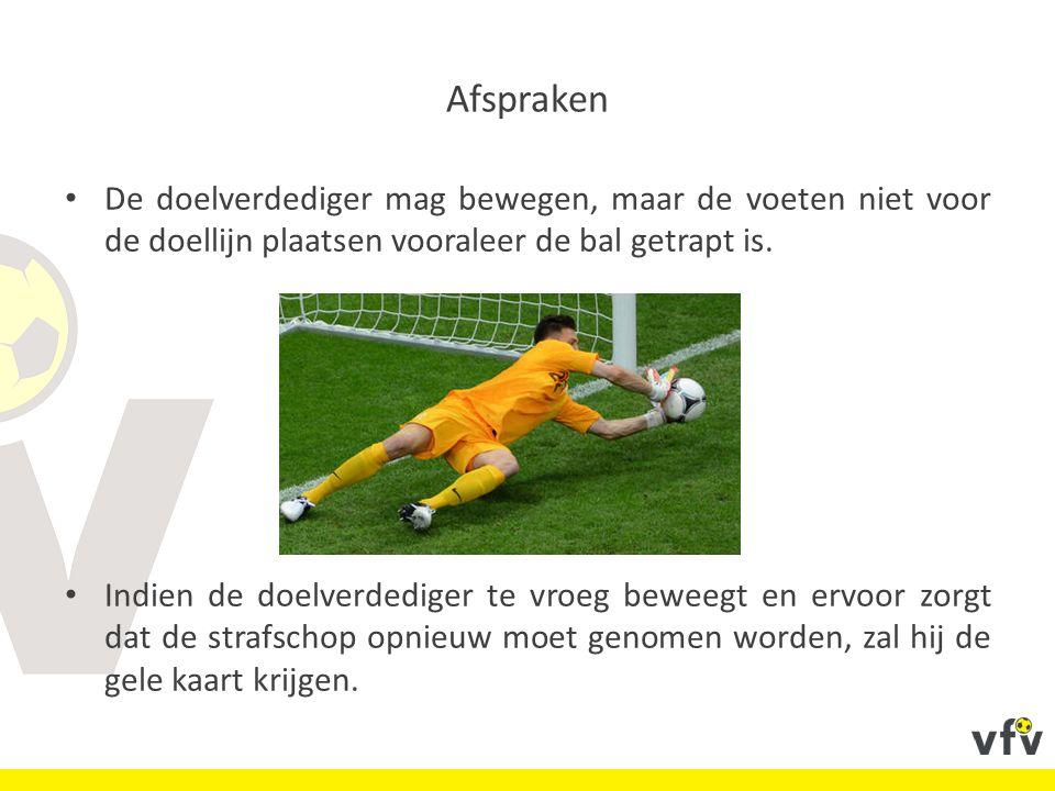 Afspraken De doelverdediger mag bewegen, maar de voeten niet voor de doellijn plaatsen vooraleer de bal getrapt is. Indien de doelverdediger te vroeg