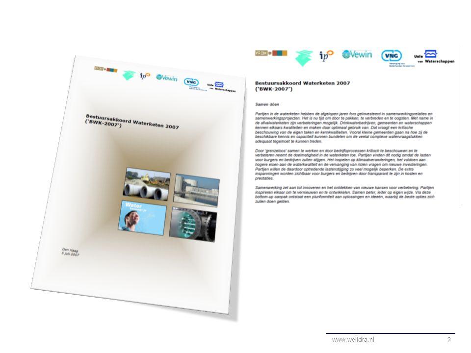 Monitoring/evaluatie 3 www.welldra.nl Bestuursakkoord (juli 2007) Bottom up uitvoering Evaluatie (2009) Bijsturen Evaluatie (2011)