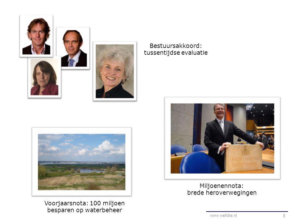 8 Voorjaarsnota: 100 miljoen besparen op waterbeheer Miljoenennota: brede heroverwegingen Bestuursakkoord: tussentijdse evaluatie