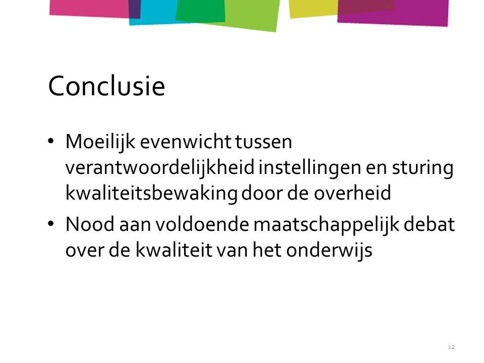 Conclusie Moeilijk evenwicht tussen verantwoordelijkheid instellingen en sturing kwaliteitsbewaking door de overheid Nood aan voldoende maatschappelijk debat over de kwaliteit van het onderwijs 12