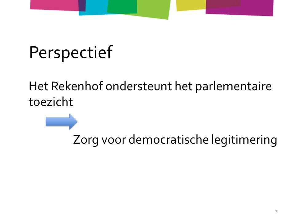 Perspectief Het Rekenhof ondersteunt het parlementaire toezicht Zorg voor democratische legitimering 3