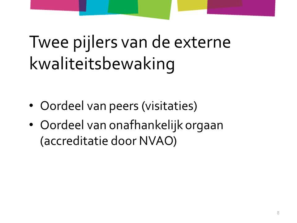 Twee pijlers van de externe kwaliteitsbewaking Oordeel van peers (visitaties) Oordeel van onafhankelijk orgaan (accreditatie door NVAO) 8