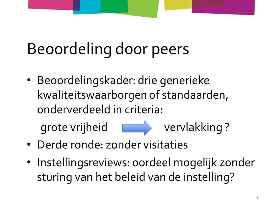 Beoordeling door peers Beoordelingskader: drie generieke kwaliteitswaarborgen of standaarden, onderverdeeld in criteria: grote vrijheidvervlakking .
