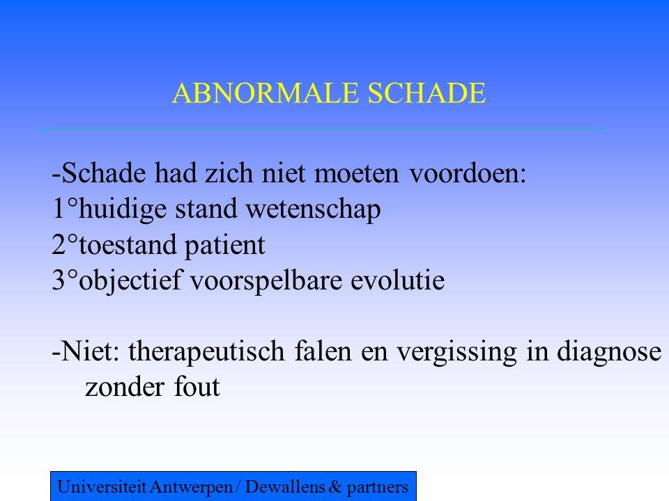 ABNORMALE SCHADE -Schade had zich niet moeten voordoen: 1°huidige stand wetenschap 2°toestand patient 3°objectief voorspelbare evolutie -Niet: therapeutisch falen en vergissing in diagnose zonder fout Universiteit Antwerpen / Dewallens & partners